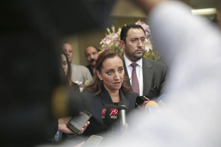 Mexico's Secretary of Foreign Relations Claudia Ruiz Massieu speaks to the media after her visit to injured Mexican tourists at the Dar Al Fouad Hospital in Cairo, Egypt, Wednesday, Sept. 16, 2015. Massieu is in Cairo after Egyptian security forces mistakenly killed at least eight Mexican tourists on a desert safari. (AP Photo/Nariman El-Mofty)
