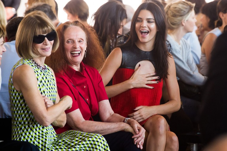 Anna Wintour, left, Grace Coddington and Kendall Jenner, right, attend the Calvin Klein Spring/Summer 2016 show during Fashion Week on Thursday, Sept. 17, 2015 in New York. (Charles Sykes/Invision/AP)