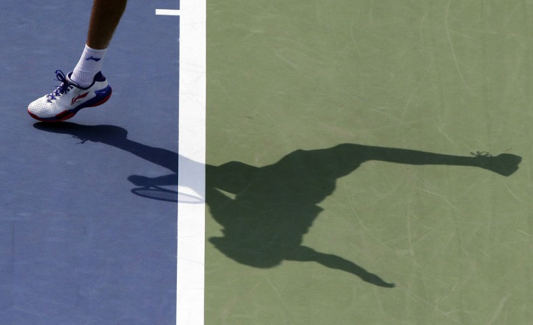 Marin Cilic, of Croatia, serves against Evgeny Donskoy, of Russia, during the second round of the U.S. Open tennis tournament, Wednesday, Sept. 2, 2015, in New York. (AP Photo/Charles Krupa)