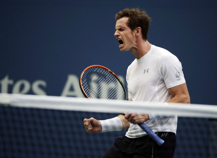 Andy Murray, of the United Kingdom, reacts after winning a point from Adrian Mannarino, of France, during the second round of the U.S. Open tennis tournament, Thursday, Sept. 3, 2015, in New York. (AP Photo/Charles Krupa)