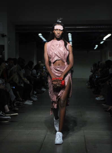 The Hood by Air Spring 2016 collection is modeled during Fashion Week, Sunday, Sept. 13, 2015, in New York. (AP Photo/Diane Bondareff)