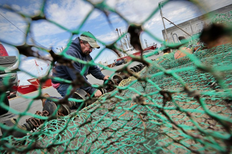 Timmy Power configures his squid net at a dock in Fairhaven, Mass. Originally harvested for bait, squid from the North Atlantic are now harvested for eating. (Peter Pereira/The Standard-Times via AP)