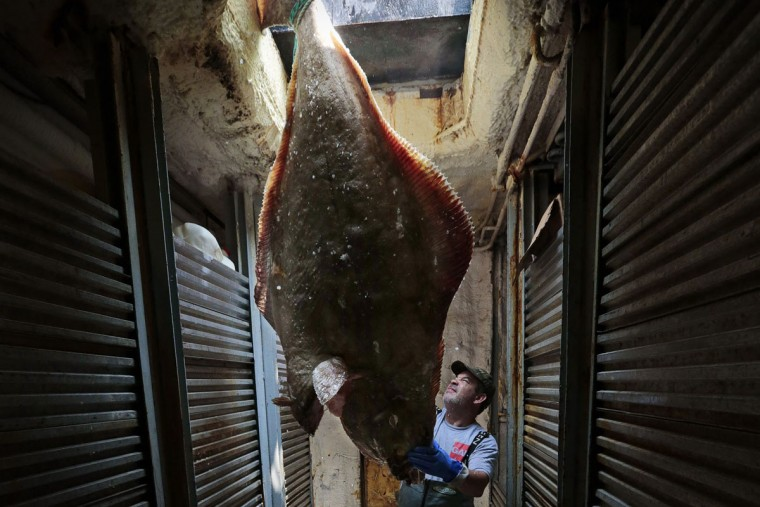 Paul Akusis, a crew member aboard the fishing vessel Titan, helps unload a huge halibut below deck in New Bedford, Mass. Groundfish such as cod, flounder, halibut, and sole live on or near the bottom of the ocean. (Peter Pereira/The Standard-Times via AP)