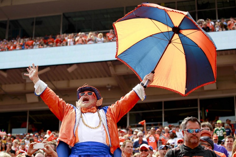 A Denver Broncos fan cheers during the first half of an NFL football game against the Baltimore Ravens Sunday, Sept. 13, 2015, in Denver. (Jack Dempsey/AP photo)