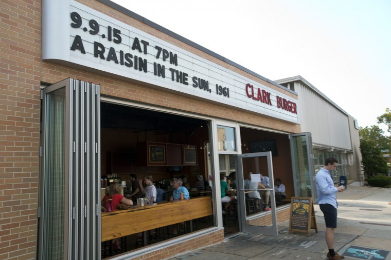 Clark Burger is located next door to the historic Senator Theatre. (Emma Patti Harris/Baltimore Sun)