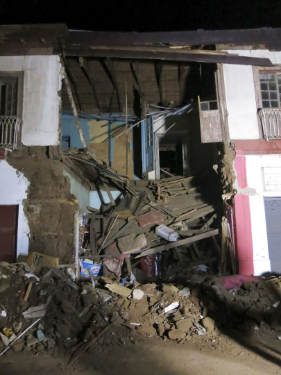 Damage in a collapsed building is seen following an 8.3-earthquake in Illapel, Chile, on Thursday, Sept. 17, 2015. The death toll has risen to at least five, with dozens of people injured. Around a million people have been evacuated from their homes, particularly around the country's coastal areas for fear of a tsunami, the Interior Ministry stated. (Mario Ruiz/EFE/Zuma Press/TNS)