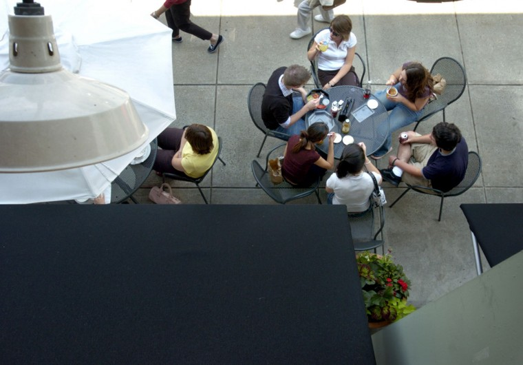 2004 - The view from above the food market in Belvedere Square during lunch on Tuesday. The 10,000 square-foot area has more then 10 merchants and has been an anchor in Belvedere Square since 1986.(Christopher T. Assaf/Baltimore Sun)