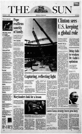 Baltimore Sun front page, Oct. 7, 1995.