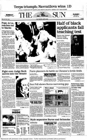 Baltimore Sun front page, Sept. 13, 1987.