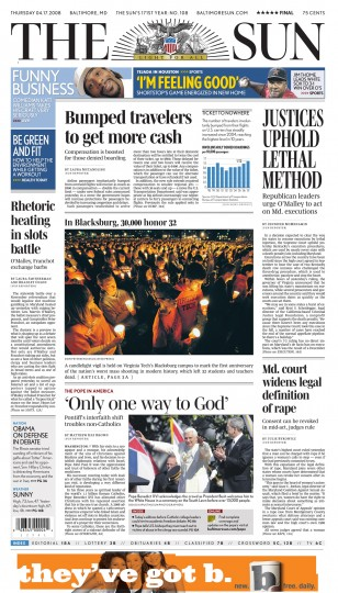 Baltimore Sun front page, April 17, 2008.