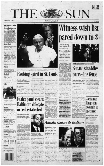 Baltimore Sun front page, Jan. 27, 1999.