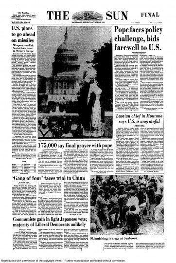 Baltimore Sun front page, Oct. 8, 1979.