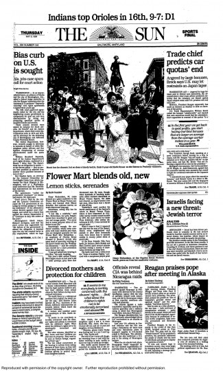 Baltimore Sun front page, May 3, 1984.