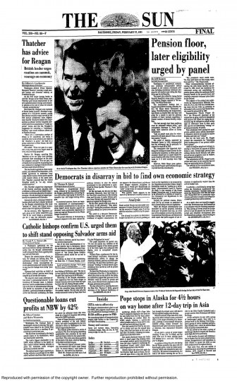 Baltimore Sun front page, Feb. 27, 1981.