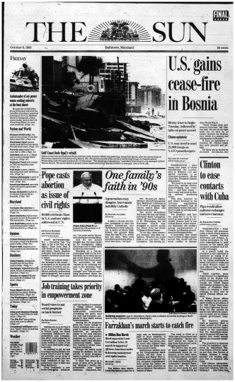Baltimore Sun front page, Oct. 6, 1995.