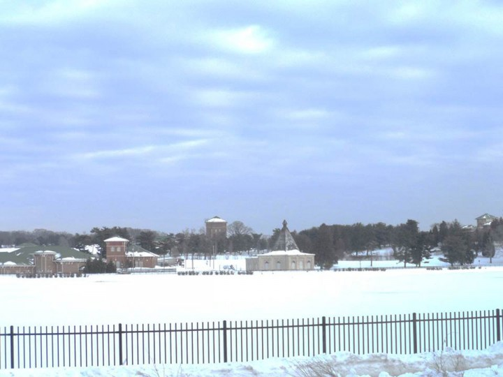 The gatehouse is pictured right by the lake. It's the building with the high-peak. (Photo by Kurt Kocher, 2010)