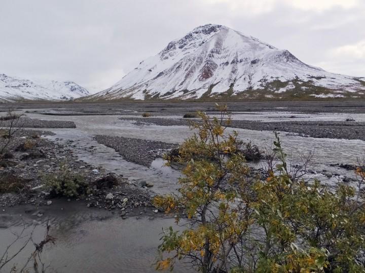 A snowy scene greets visitors around the Toklat River, on Monday, Aug. 31, 2015, in Denali National Park and Preserve, Alaska. The summer travel season is winding down at Denali National Park and Preserve, a time of year that sees the vast majority of visitors to this largely wild place. The park is an adventurer's paradise with few marked trails inviting backcountry exploration. (AP Photo/Becky Bohrer)