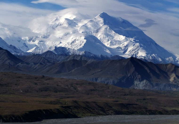 This Aug. 27, 2014 file photo shows Mount McKinley in Denali National Park and Preserve, Alaska. President Barack Obama on Sunday, Aug. 30, 2015 said he's changing the name of the tallest mountain in North America from Mount McKinley to Denali. (AP Photo/Becky Bohrer, File)
