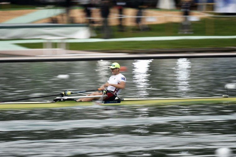 USA's Nicholas Trojan competes in the men's lightweight single sculls, on September 3, 2015 in Aiguebelette Le Lac, during the world rowing championships. (JEFF PACHOUD/AFP/Getty Images)