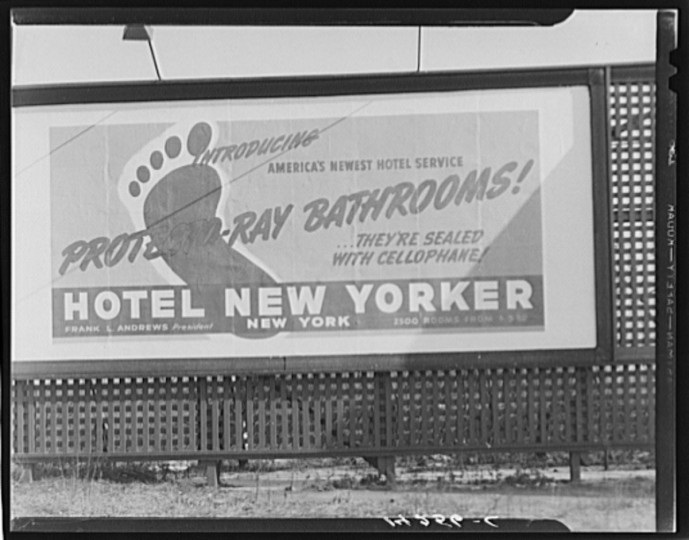 Advertisement on U.S. 1 on outskirts of Baltimore, Maryland. (Unknown photographer and date)