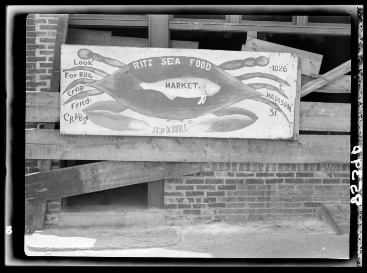 Seafood sign. Baltimore, Maryland. (John Vachon / July 1938)