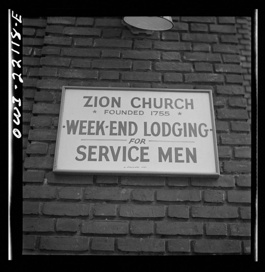Baltimore, Maryland. Sign on a church. (Marjory Collins / April 1943)