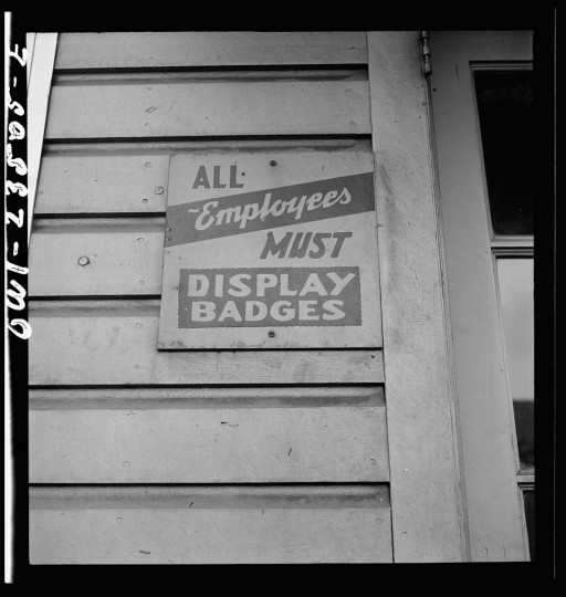 Bethlehem-Fairfield shipyards, Baltimore, Maryland. A shipyard sign. (Arthur S. Siegel / May 1943)
