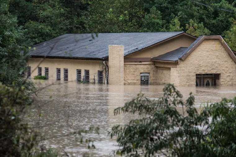 A church is surrounded by flood waters following flooding in the area October 5, 2015 in Columbia, South Carolina. (Photo by Sean Rayford/Getty Images)