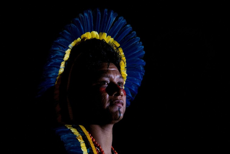 A Brazilian Indian Bororo attends a competition at the first World Games for Indigenous Peoples on October 26, 2015 in Palmas, Brazil. (Photo by Buda Mendes/Getty Images)