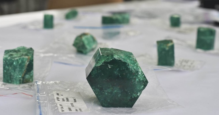 Emeralds are seen at the workshop of Muzo Emerald Company in Bogota. (Luis Acosta/Getty Images)