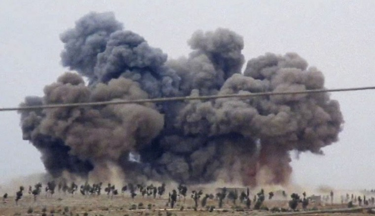 In this image made from video provided by Hadi Al-Abdallah, which has been verified and is consistent with other AP reporting, smoke rises after airstrikes in Kafr Nabel of the Idlib province, western Syria, Thursday, Oct. 1, 2015. Russian jets carried out a second day of airstrikes in Syria Thursday, but there were conflicting claims about whether they were targeting Islamic State and al-Qaeda militants or trying to shore up the defenses of President Bashar Assad. (Hadi Al-Abdallah via AP)