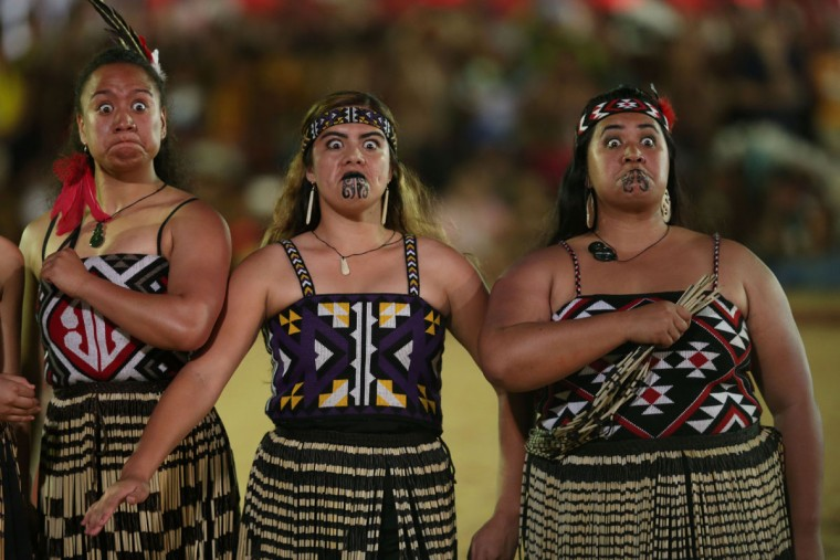 Maori from New Zealand take part in the parade of indigenous beauty at World Indigenous Games, in Palmas, Brazil, Saturday, Oct. 24, 2015. (AP Photo/Eraldo Peres)