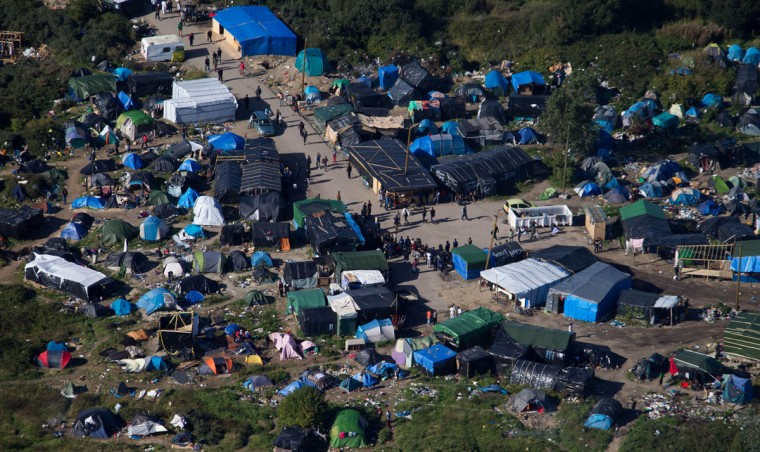 An aerial view of the migrant camp known as the New Jungle Camp, near Calais, northern France, Friday, Sept. 25, 2015. (AP Photo/Michel Spingler)