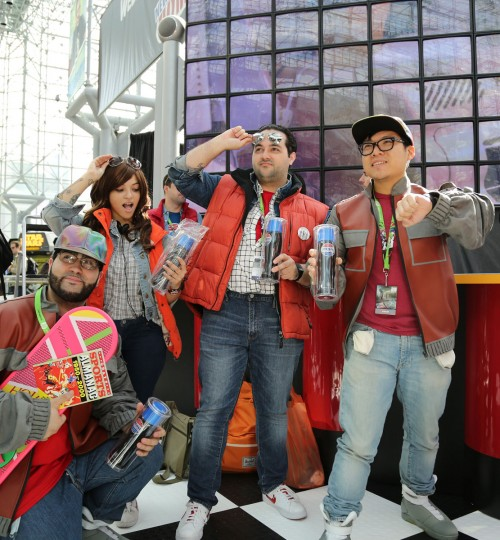 Pepsi gifts early released bottles of Pepsi Perfect to 200 Marty McFly cos players at New York Comic Con in celebration of the 30th anniversary of the Back to the Future movie. (Pepsi via AP Images)