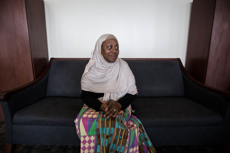 Shahidah Sharif, who will be making her Hajj pilgrimage to the holy city of Mecca, poses for a portrait at the Atlanta Masjid of Al Islam mosque , Sunday, Aug. 30, 2015, in Atlanta. Members of the mosque gathered to celebrate a group of pilgrims who will make the annual Hajj pilgrimage to the holy city of Mecca. (AP Photo/Branden Camp)