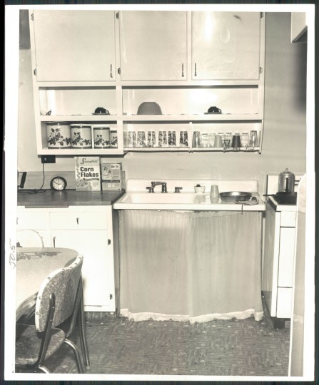 A look at a kitchen in an apartment in the Flag House Courts housing project in Jonestown on Oct. 11, 1956. (Baltimore Sun photo by Albert D. Cochran)