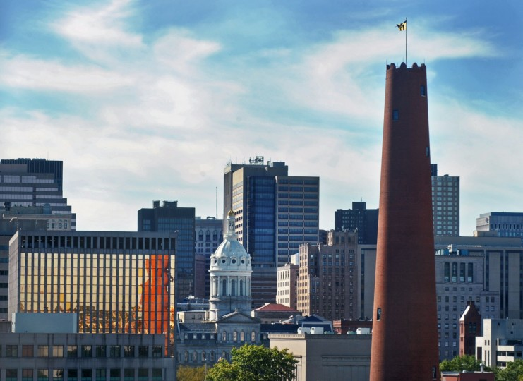 The Shot Tower, located in the Jonestown neighborhood, is pictured against Baltimore's downtown. (Baltimore Sun photo by Oct. 6, 2015)