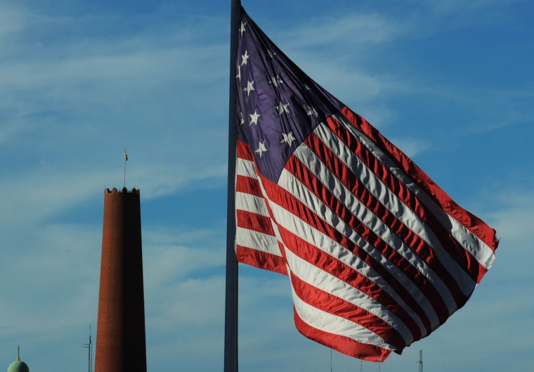 The Shot Tower, left, is pictured with the Star-Spangled Banner Flag on Oct. 6, 2015. (Baltimore Sun photo by Kenneth K. Lam)