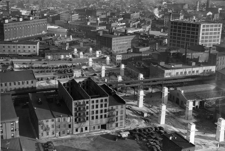 1935 -- Construction of the Orleans Street viaduct is seen from the Standard Oil Building in 1935. (A. Aubrey Bodine/Baltimore Sun)