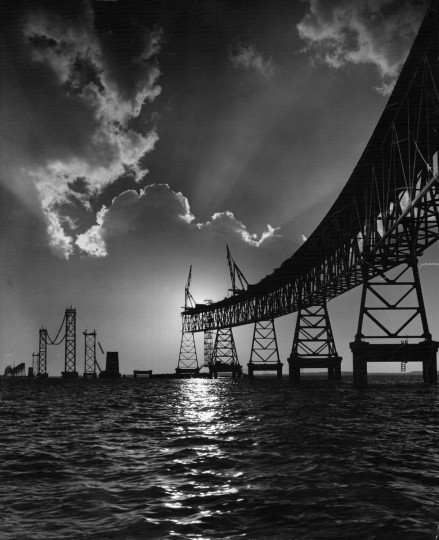 1952 - The Bay Bridge nears completion in March 1952. Soon, motorists would no longer have to take the ferry across the Chesapeake Bay or make the long trek around it. (A. Aubrey Bodine/Baltimore Sun)