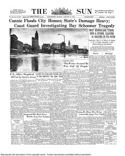 August 14, 1955 - Hurricane Connie floods city homes