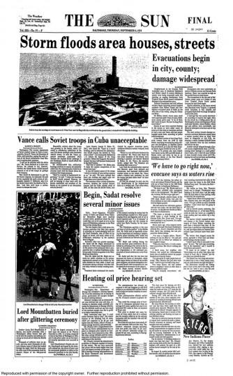 September 6, 1979 - Tropical Storm David floods area houses, streets