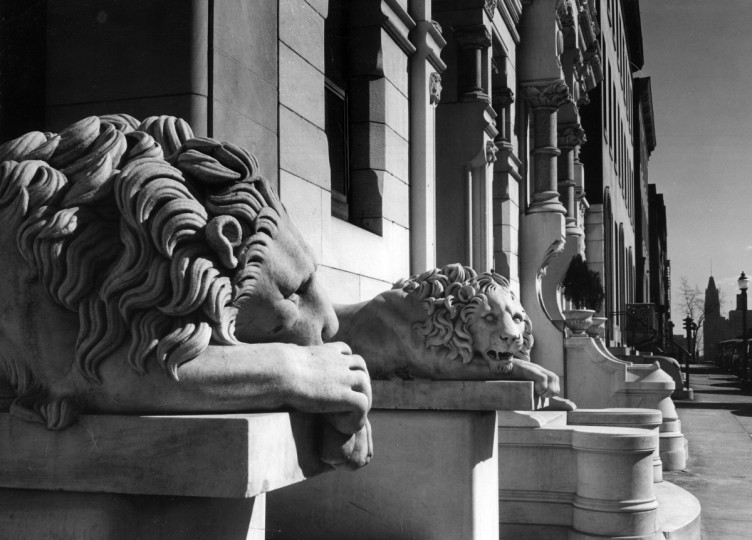 1970 - There are many decorative lions through the city, some of which probably look familiar to you. These lions once were in the 1100 block of St. Paul's Street. (A. Aubrey Bodine/Baltimore Sun)