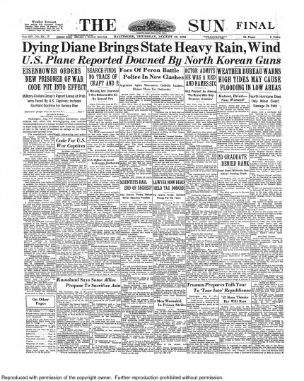 August 18, 1955 - Hurricane Diane brings state heavy rain