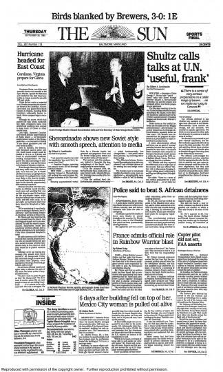September 26, 1985 - Hurricane Gloria headed for the East Coast