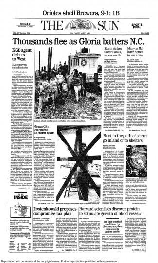 September 27, 1985 - Thousands flee as Hurricane Gloria batters N.C.