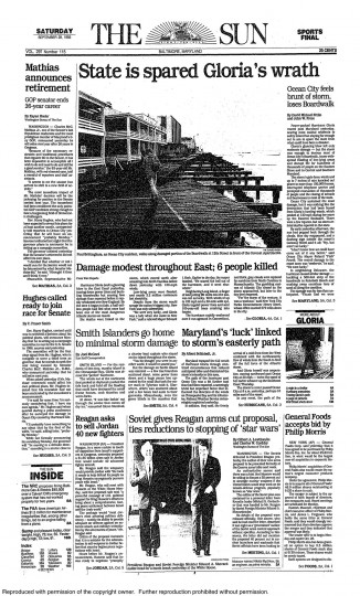 September 28, 1985 - State is spared Hurricane Gloria's wrath