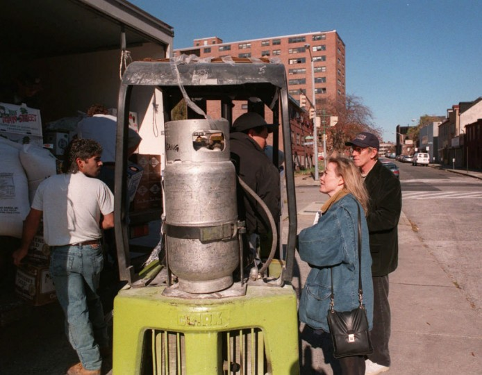 Homicide Production Designer Vince Peranio and Location Manager Kathi Ash go around the city to find locations to shoot the television show. They are at Recreation Center in Flag House Court and near Oldtown Mall on Oct. 31, 1996. (Baltimore Sun photo by Perry Thorsvik)