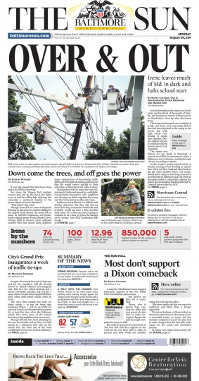 August 29, 2011 - Hurricane Irene leaves much of Md. in the dark and halts school start