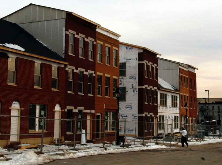 The first residents of the Flag House Courts development near Pratt Street and Central Avenue are scheduled to move in within the next 60 days. (Baltimore Sun photo by Elizabeth Malby, Feb. 2, 2004)